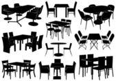 Illusztráció: asztalok és székek