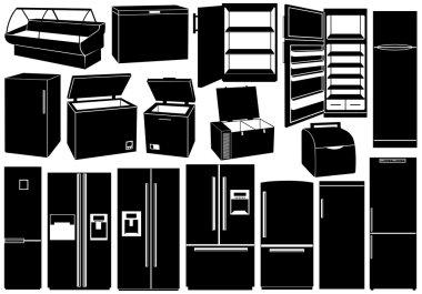 Set of different refrigerators