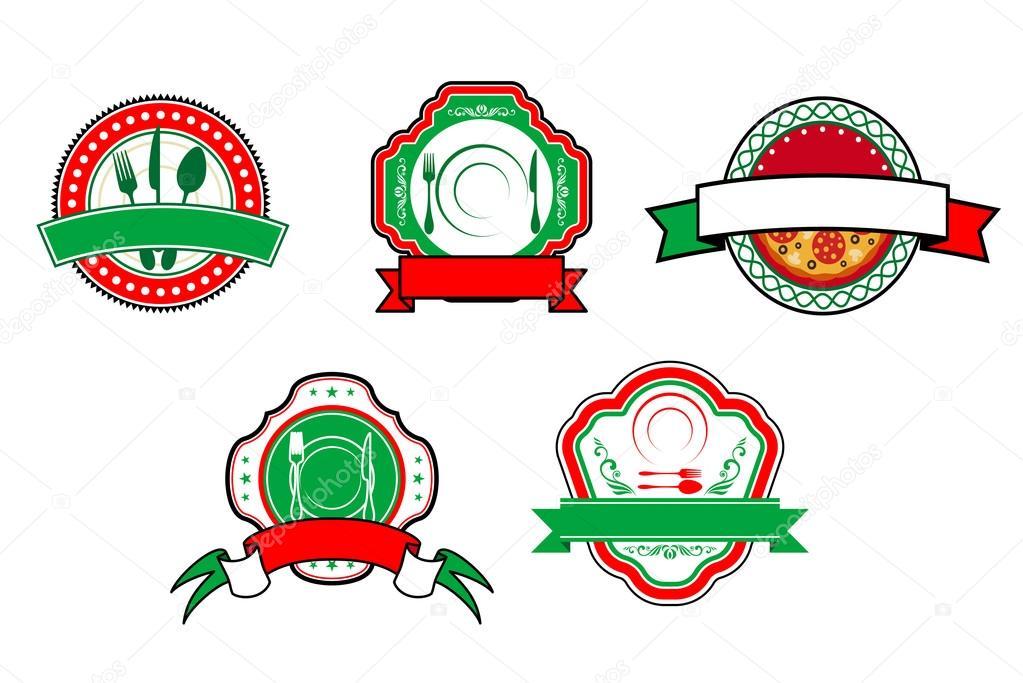 italienische Küche-Banner und Etiketten — Stockvektor © Seamartini ...