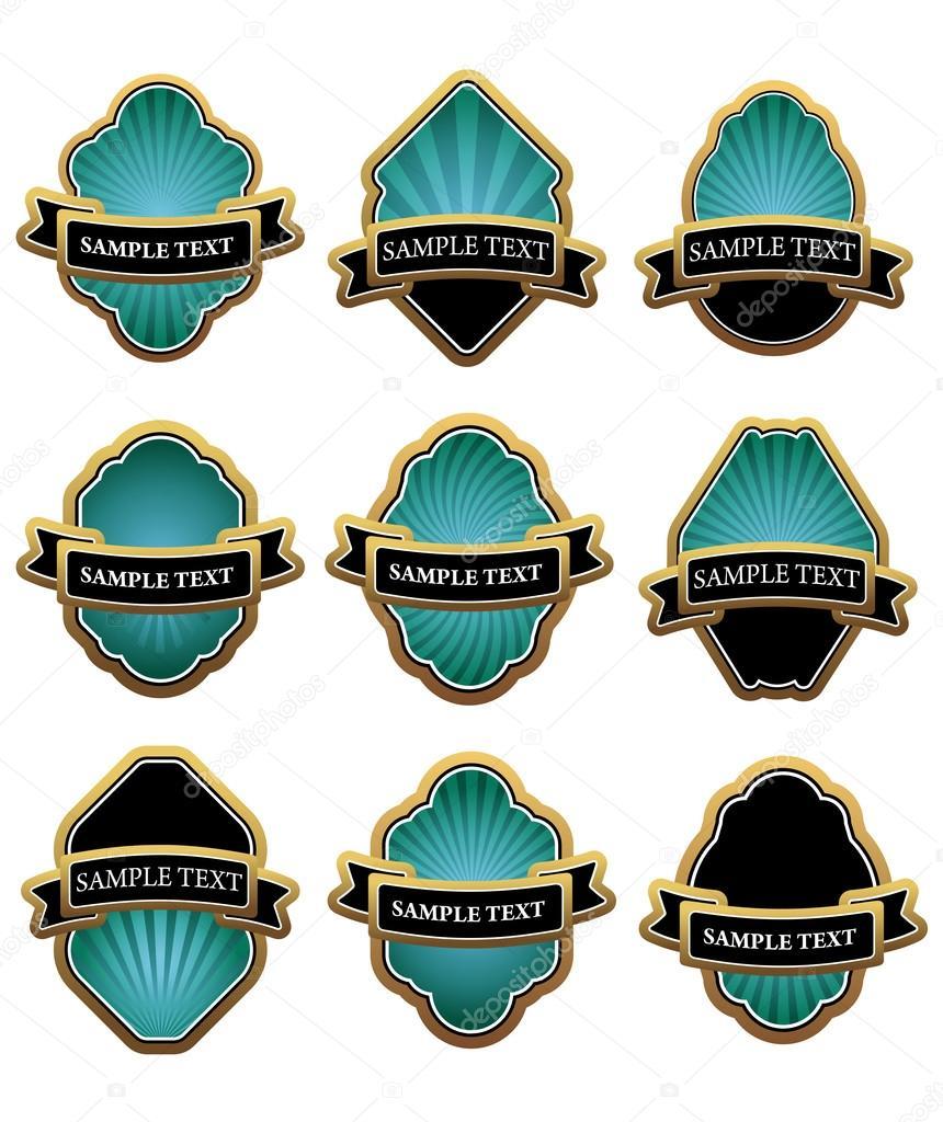 conjunto de etiquetas de blueluxury y banners con marcos de oro, tal ...