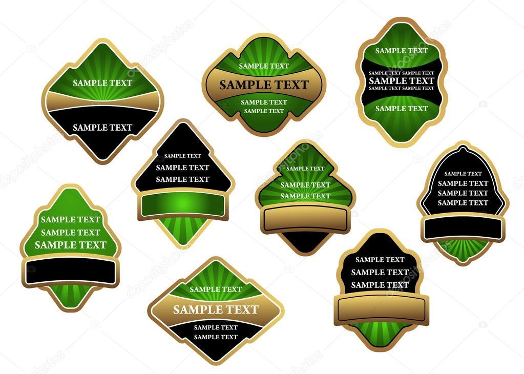 conjunto de etiquetas de lujo verde y pancartas con marcos de oro ...