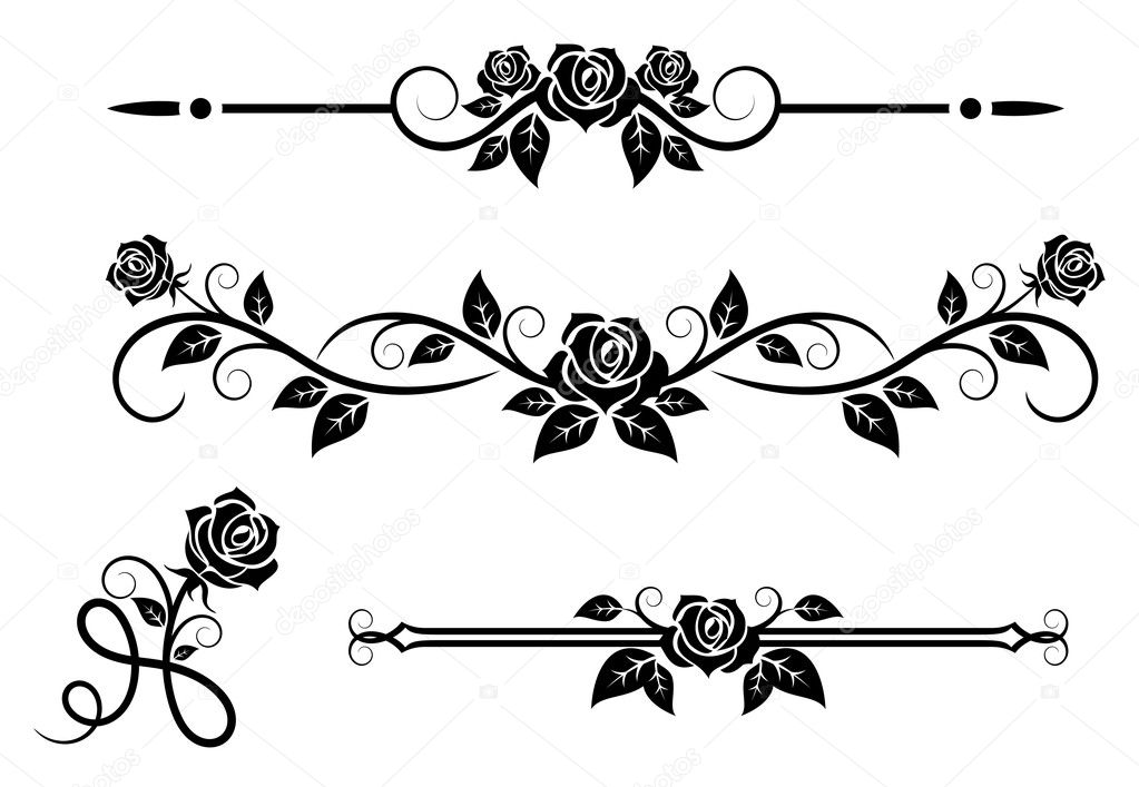 Rose Flowers With Vintage Elements Stock Vector