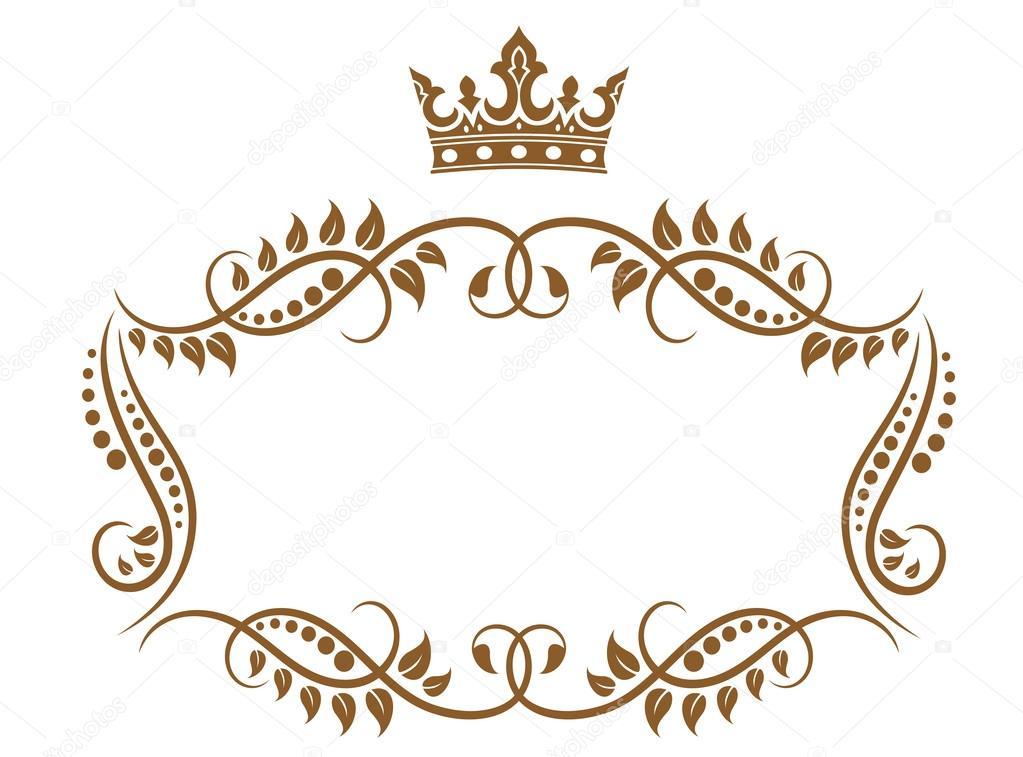elegante moldura medieval real com coroa — Vetores de Stock © Seamartini #25899833