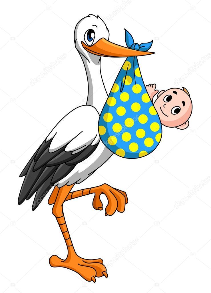 Cigogne Avec Bébé Nouveau Né Image Vectorielle Seamartini