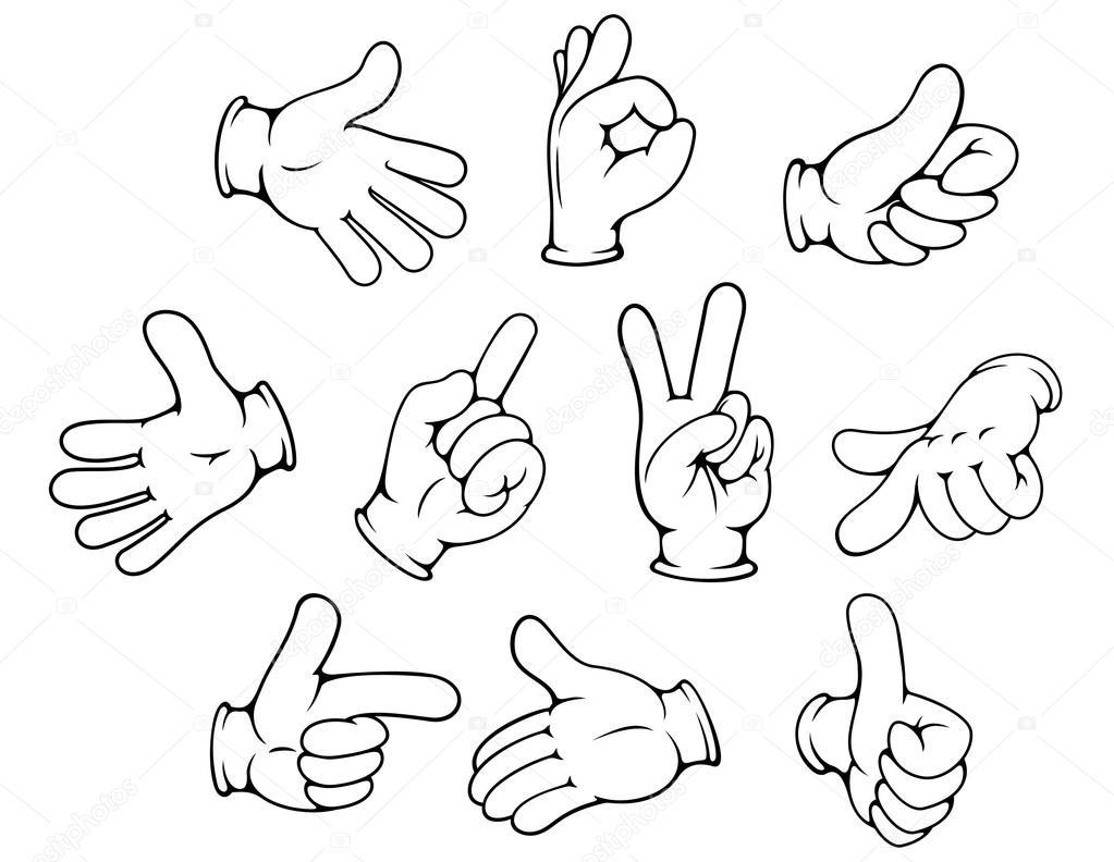 jeu de gestes de main dessin anim u00e9  u2014 image vectorielle