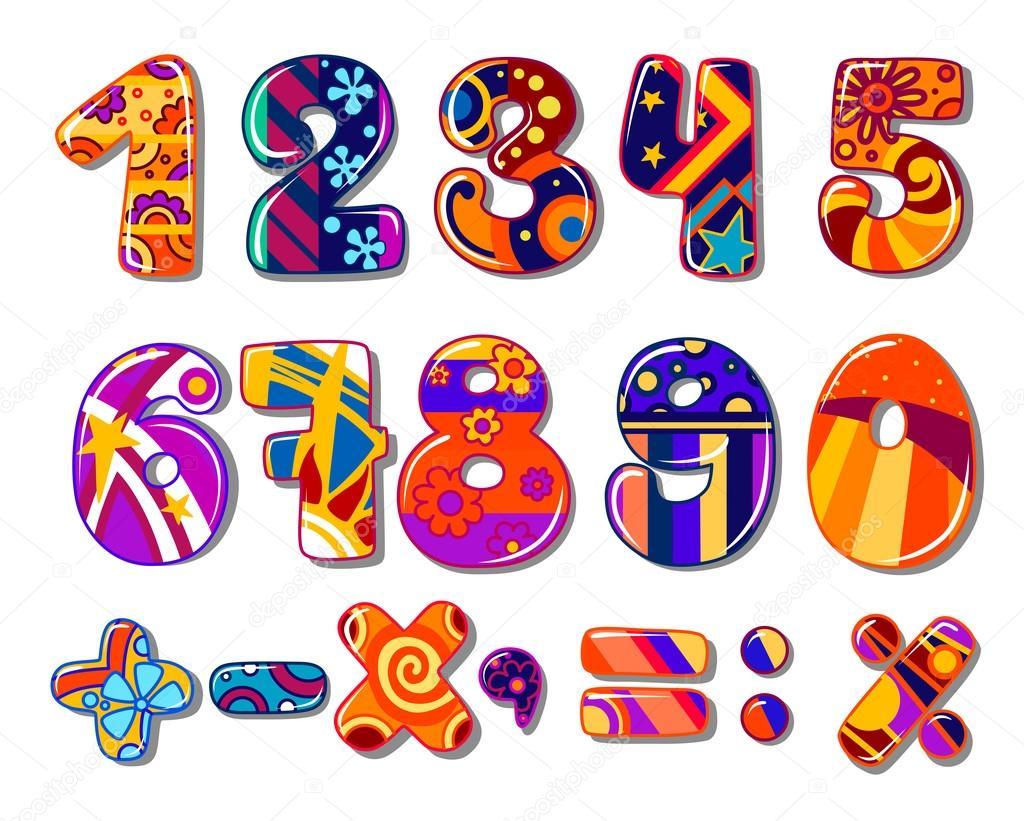 Dibujos Animados Escuela Coloridos Números