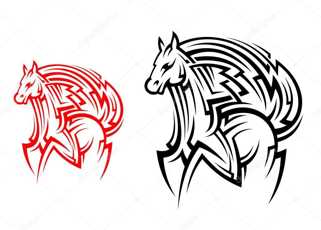 Tribal Horse Tattoo Stock Vector C Seamartini 35621755