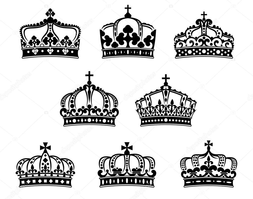 Vector Coronas Queen Y King Conjunto De Coronas Heráldica Rey Y