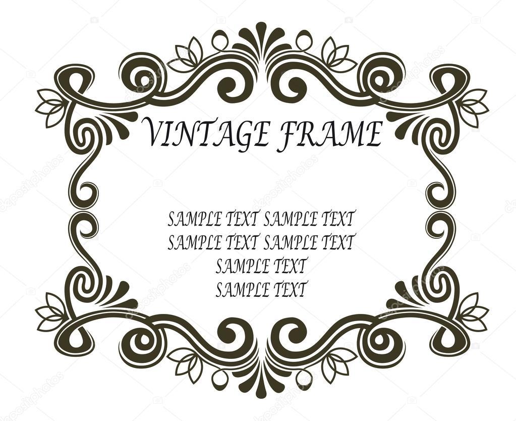marco vintage con pergaminos y florituras — Archivo Imágenes ...
