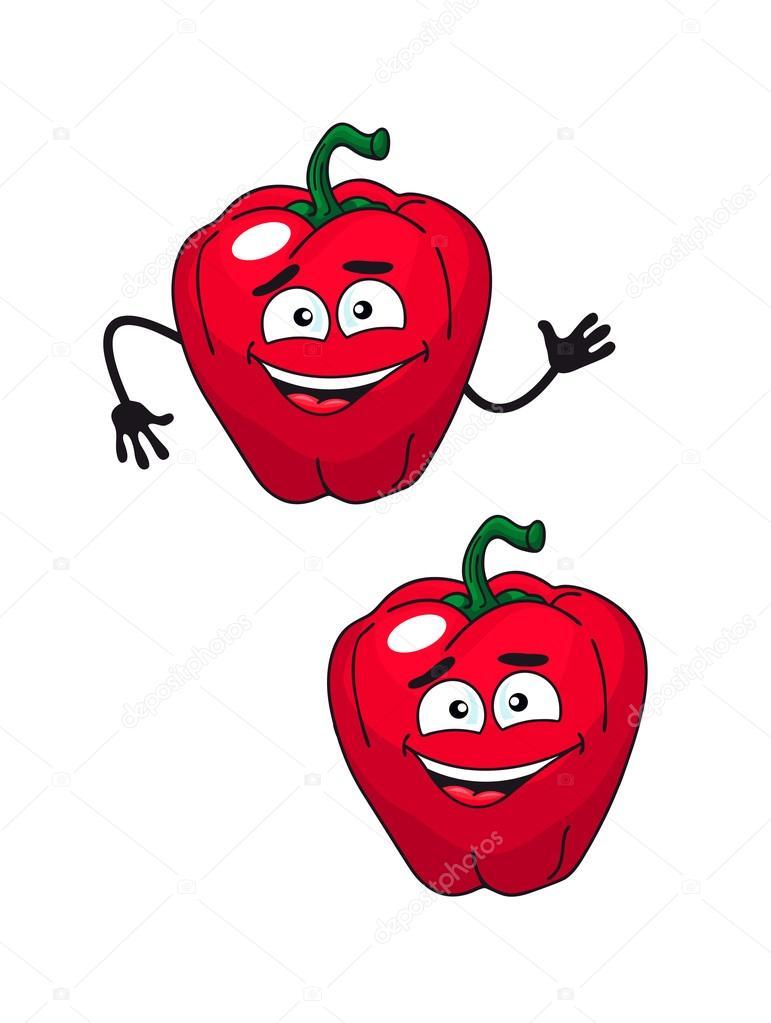 Dos lindos dibujos animados feliz sonriente pimiento rojo 16756146e3f