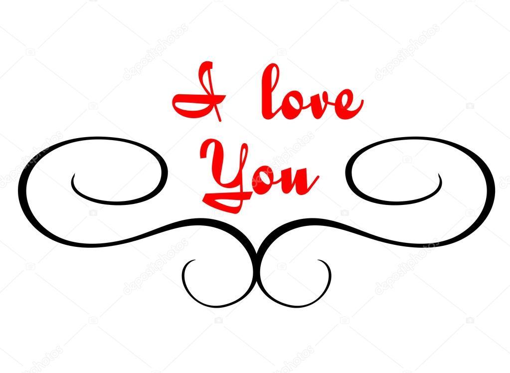kalligraphische Header mit ich liebe dich text — Stockvektor ...
