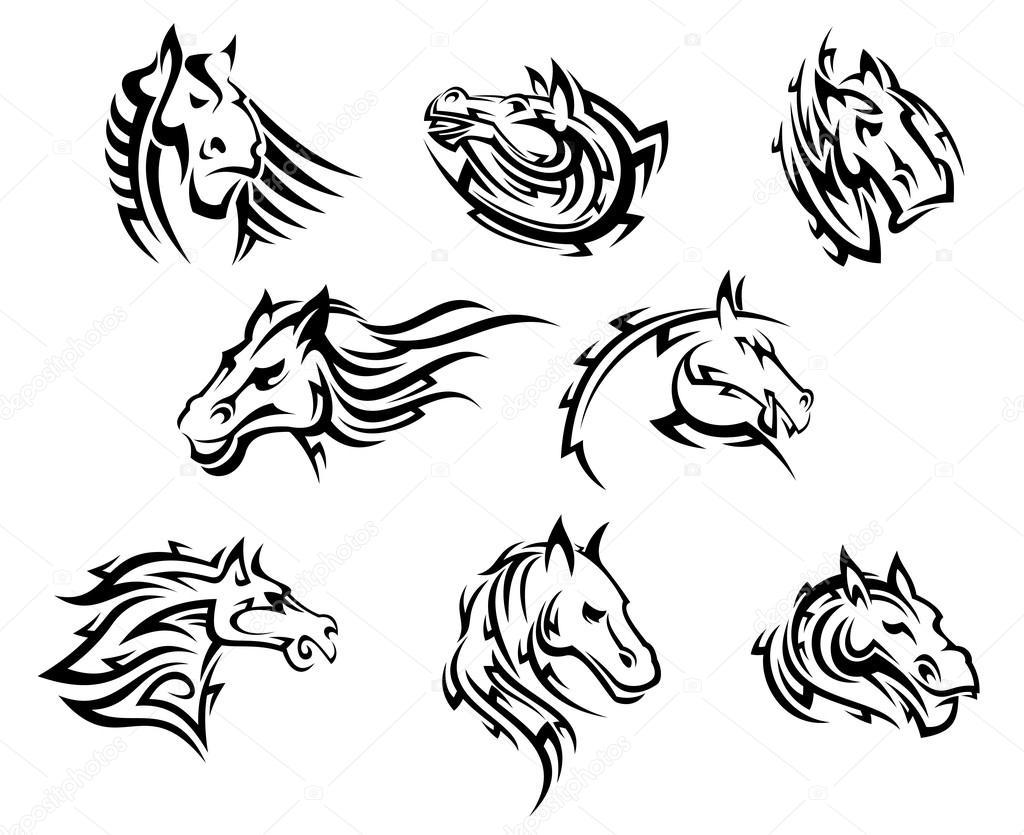 Głowa Konia Plemienne Tatuaże Grafika Wektorowa