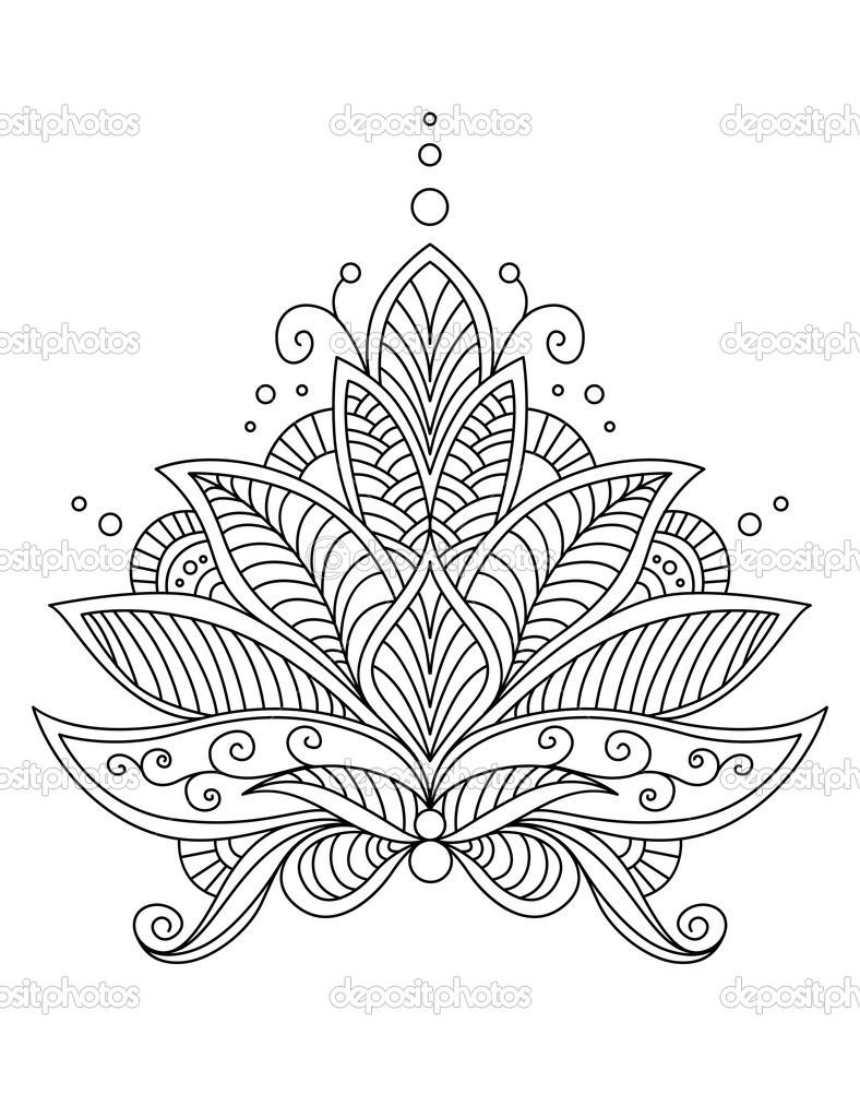 Karmaşık narin çiçek tasarım motifi — Stok Vektör