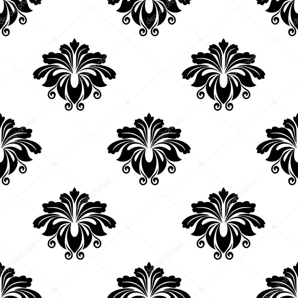 patrones sin fisuras de motivos arabescos florales Damasco — Vector ...