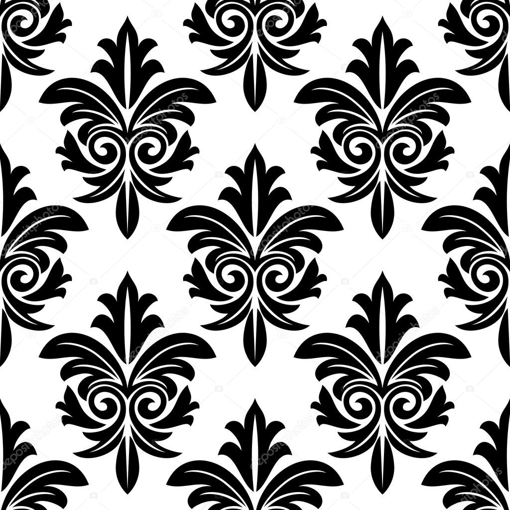 bold foliate arabesque motif in black and white stock. Black Bedroom Furniture Sets. Home Design Ideas
