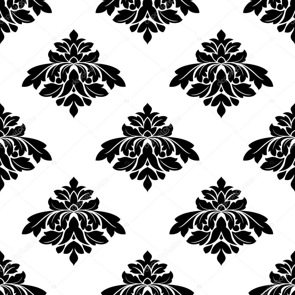 Dikişsiz siyah beyaz damask tarzı desen — Stok Vektör