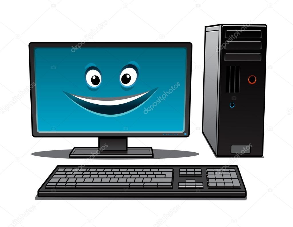Computadora de escritorio de dibujos animados feliz for Imagenes animadas para escritorio de computadora gratis