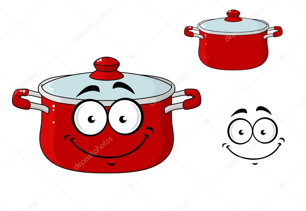 Little Red Cartoon Cooking Saucepan With A Lid Stock Vector