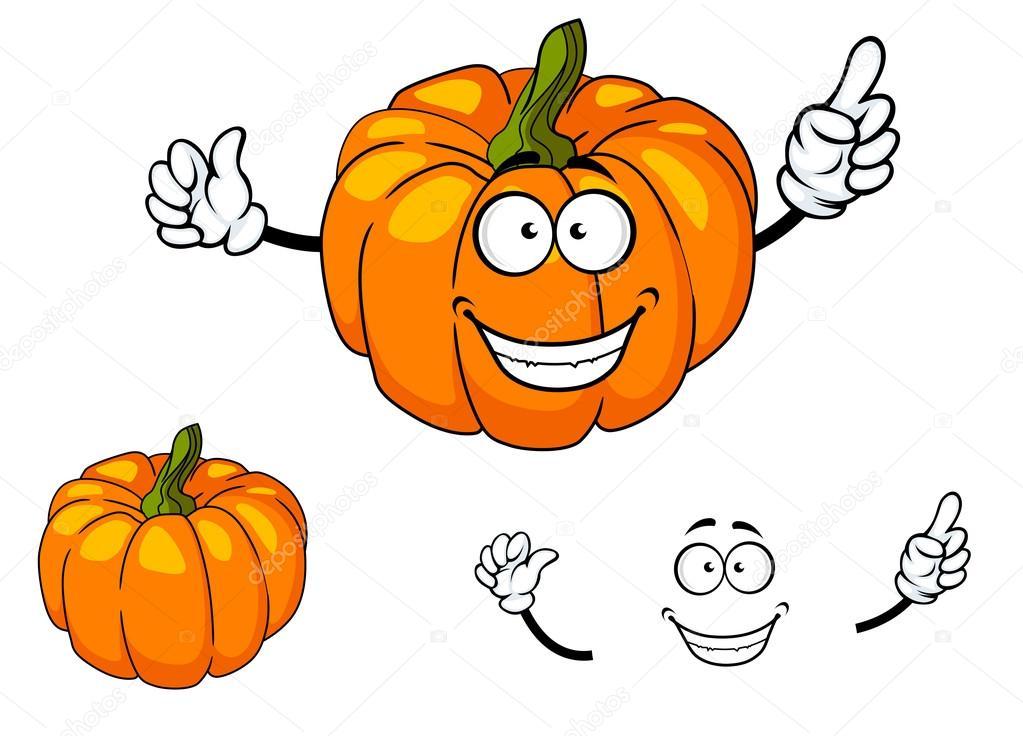 calabaza feliz colorido color naranja dibujos animados — Archivo ...