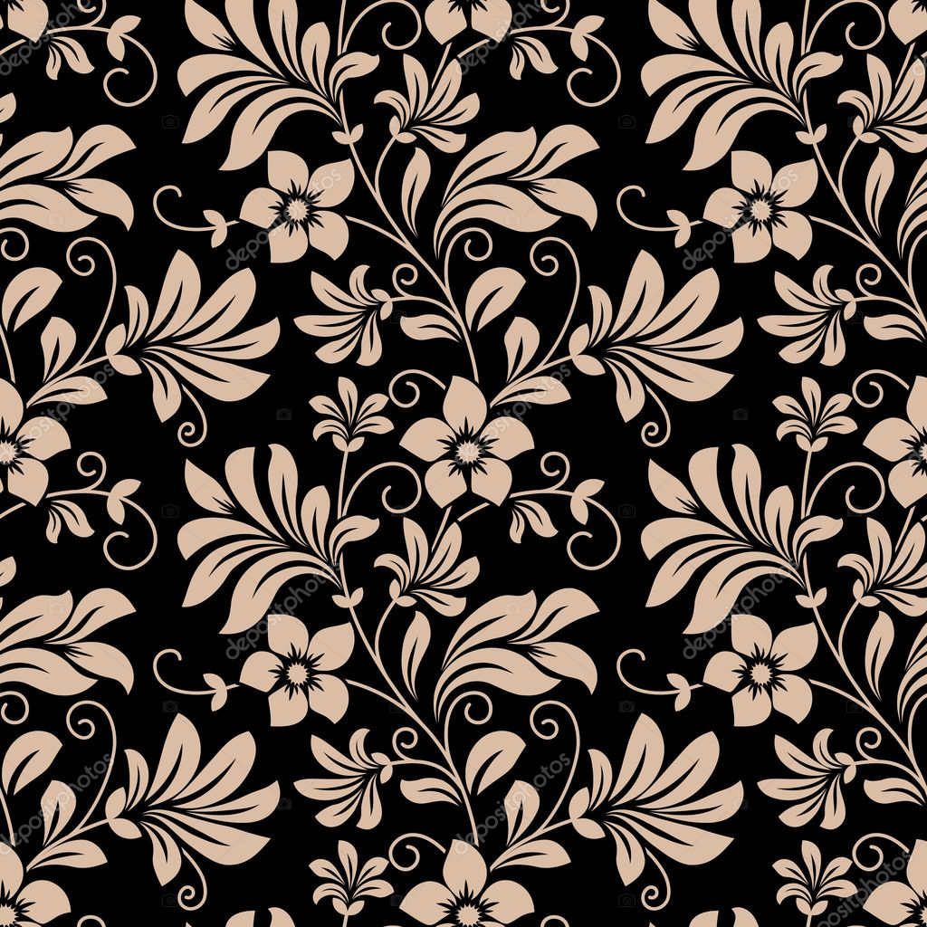 Vintage Floral Wallpaper Seamless Pattern Stock Vector 46567083