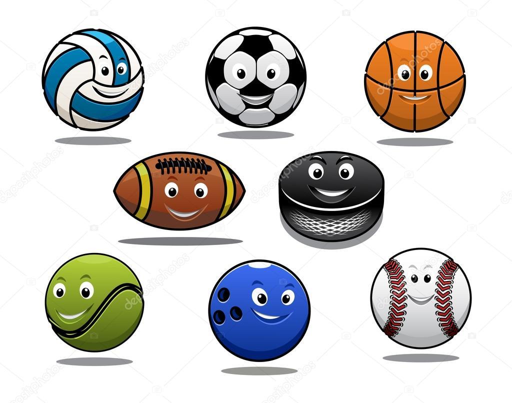 520523047e2e3 equipamento de bolas de esportes do conjunto de desenhos animados ...