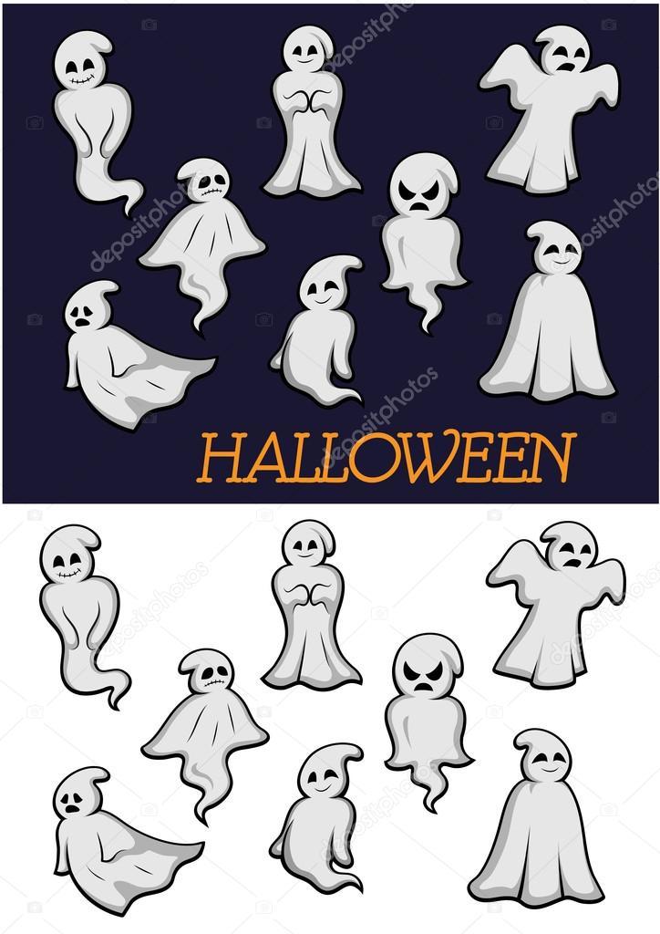 dibujos animados de los fantasmas de halloween — Archivo Imágenes ...