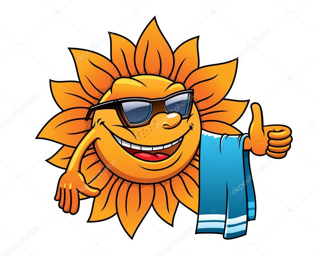 Felice sole tropicale su una vacanza al mare — vettoriali