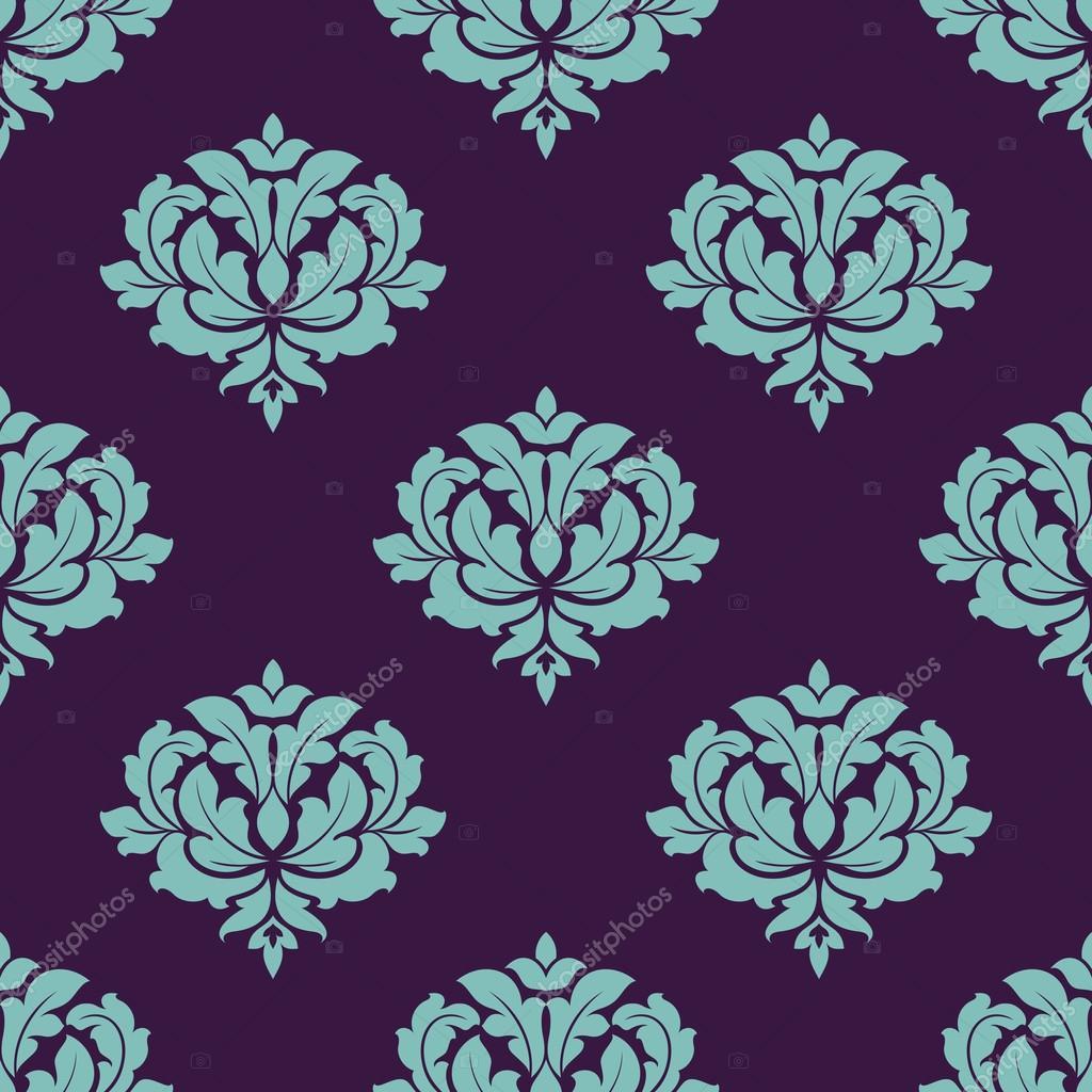 Padrao Sem Emenda Floral Colorido Turquesa Em Motivos De Damasco Estilo Apropriados Para O Papel Parede Telhas E Tela Design Isolado No Fundo Escuro