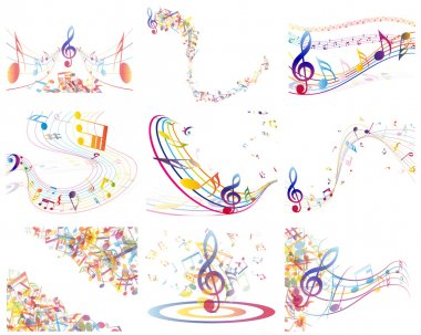 Multicolour musical notes staff background. Vector illustration with transparency EPS10. stock vector