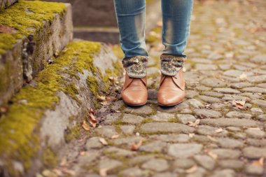 Walking through the autumn leaves, closeup