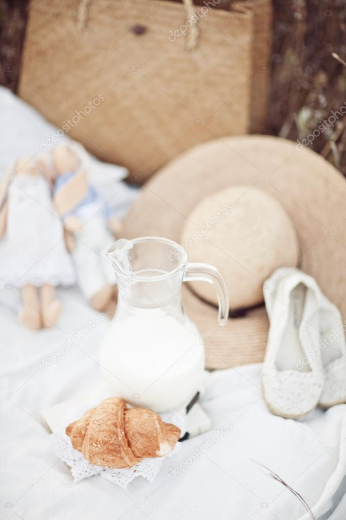 Picnic detail: hat, milk, tilda, croissant, shoes on white plied in nature
