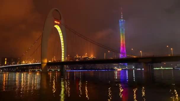lodí pod liede mostem v noci, guangdong, Čína