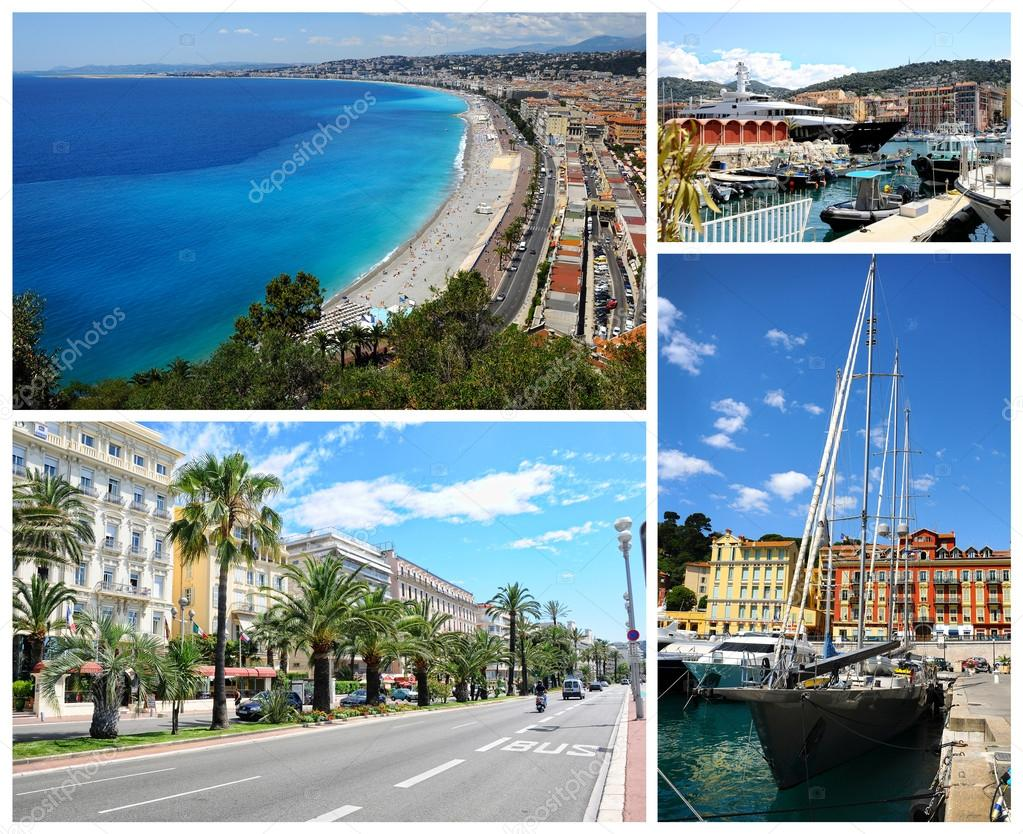 Collage of Nice landmarks, France.
