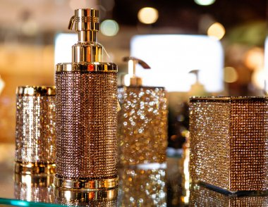 Studded with crystals bathroom accessories