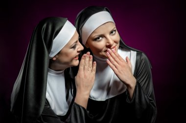 Young attractive nun whispering a secret to another nun stock vector