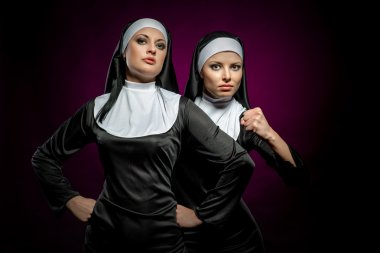 Two attractive young nuns indoors