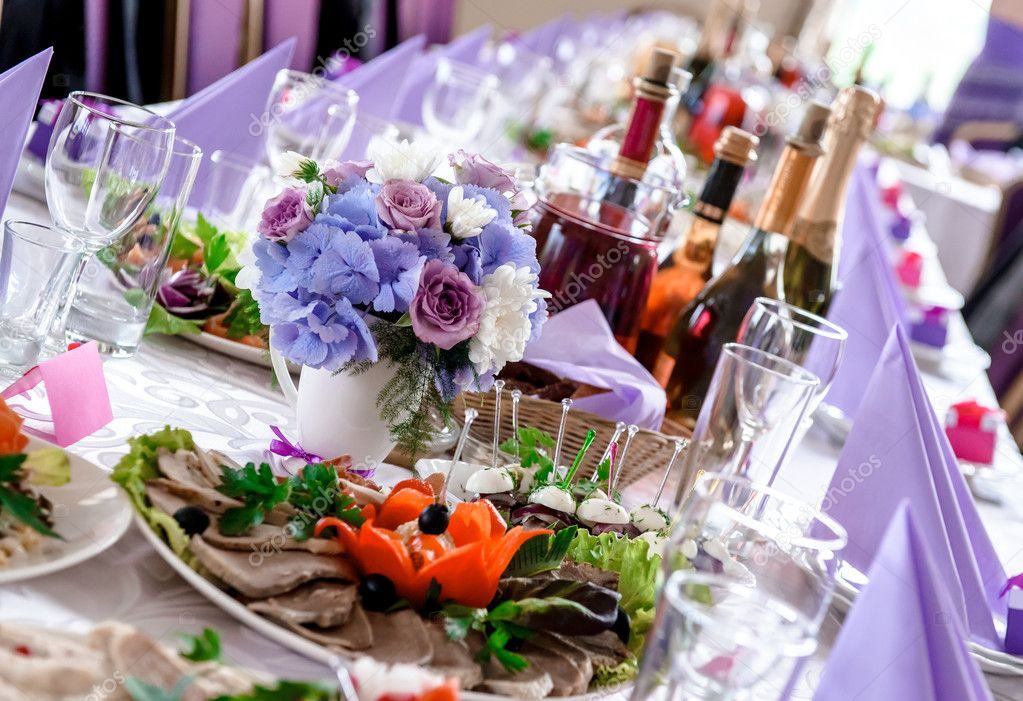 Wedding Table Decorations With Food And Beverages Stock Photo