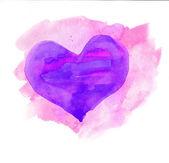 akvarell szív. kék és lila színekben