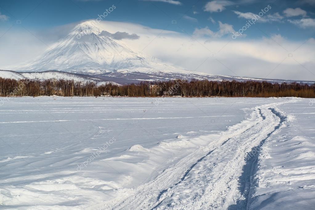 Koryaksky volcano and surrounding snow-covered countryside