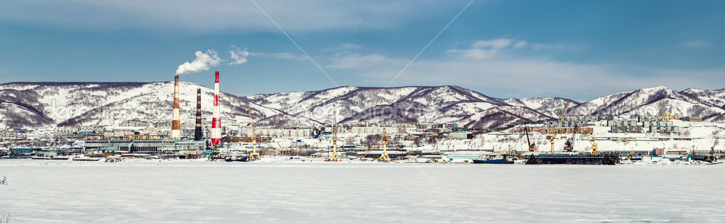 Panoramic view of Petropavlovsk-Kamchatsky seaport