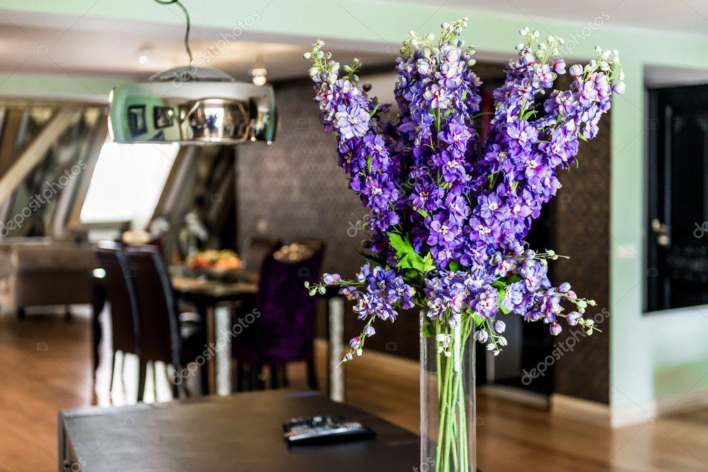 Beautiful flowers in vase indoors