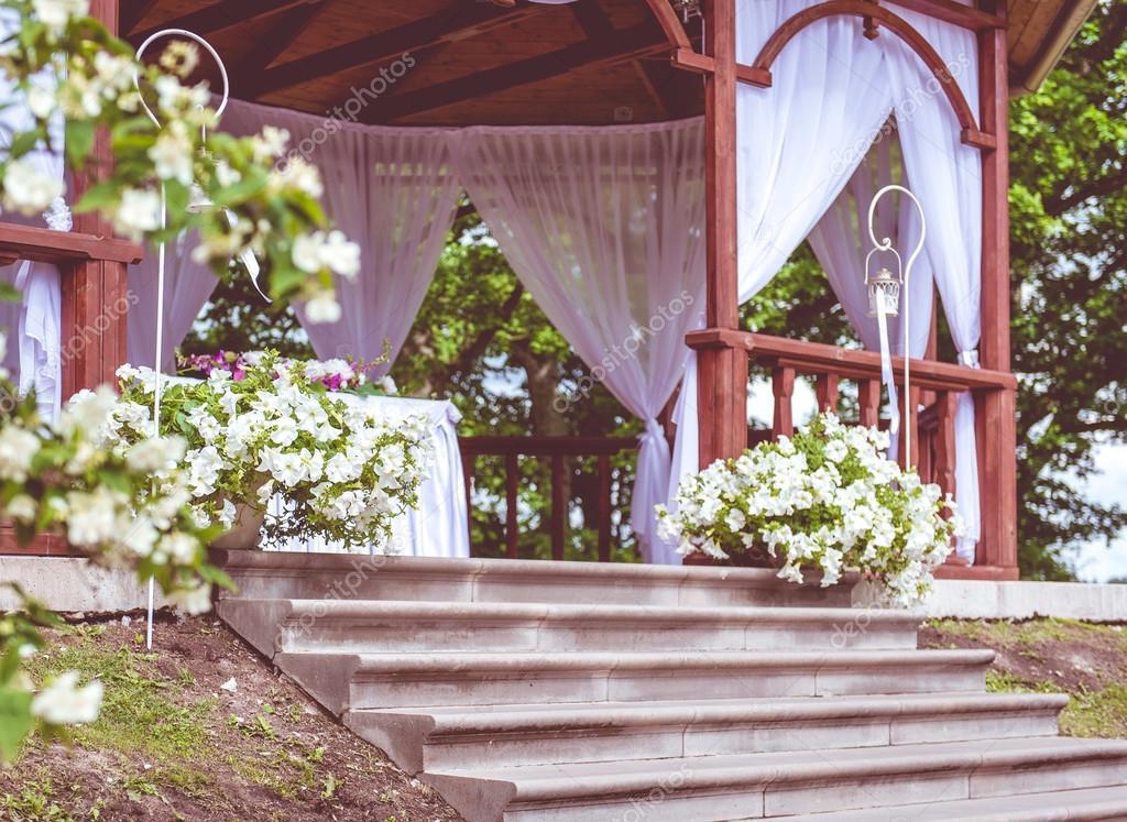 Beautiful Wedding Gazebo With Flower Decoration Stock Photo