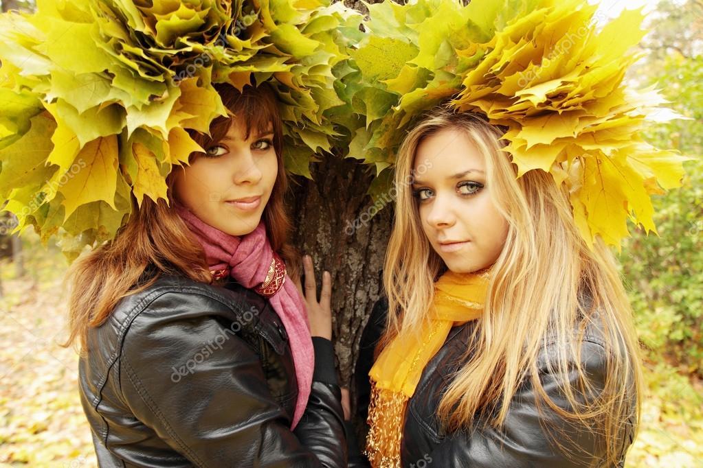 two girlfriends in wreaths