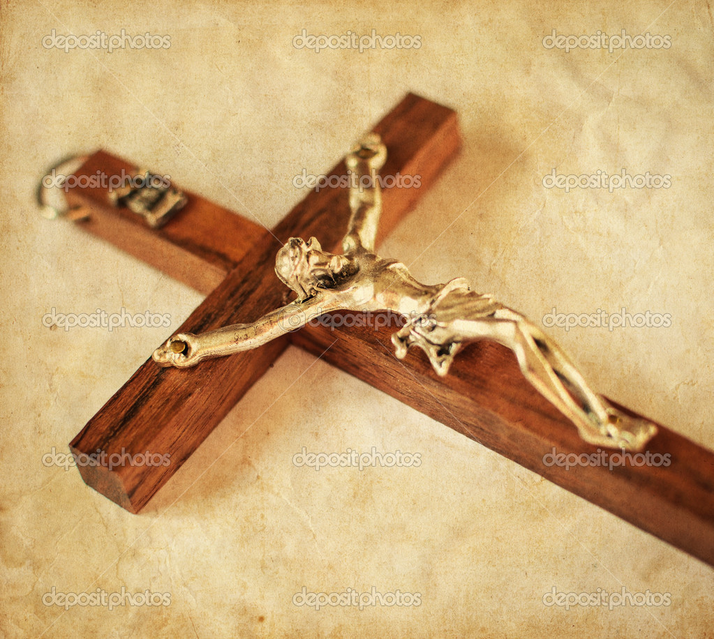 crucified cross with jesus christ vintage background u2014 stock photo