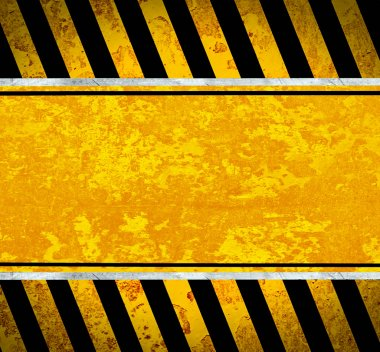 Grunge metal plate with warning stripes