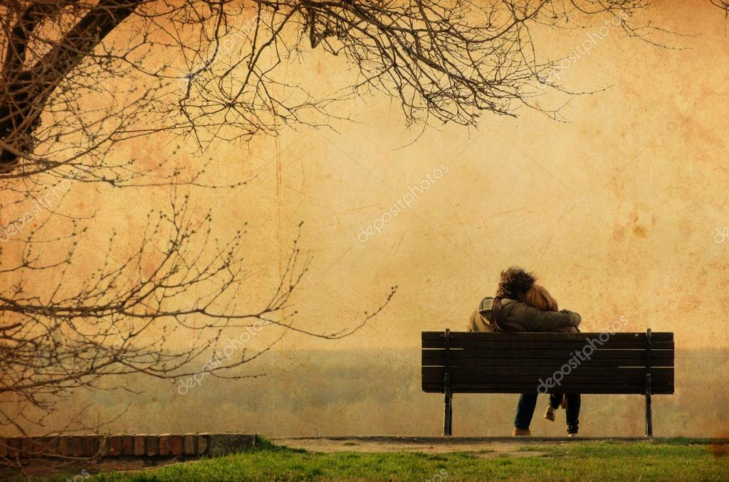 Romantic couple on bench - Vintage photograph