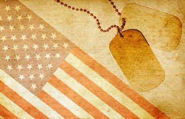 Vintage USA flag and ID tags