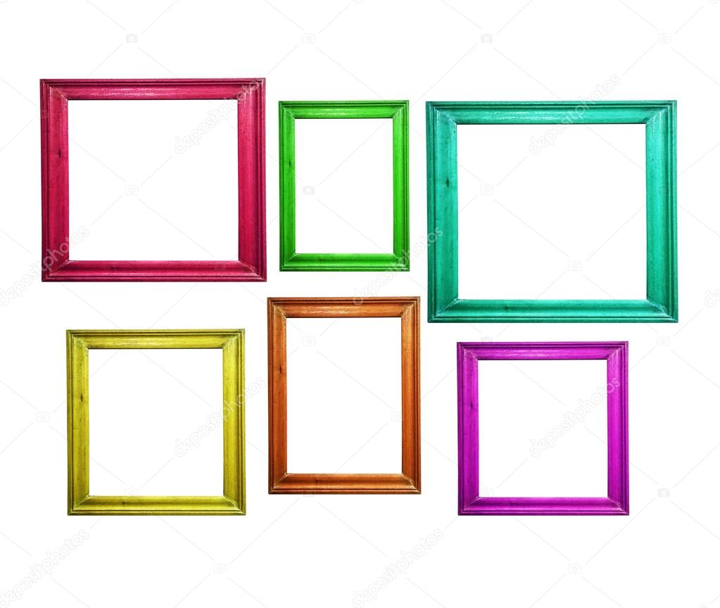 Multicolored wooden picture frames isolated on white — Stock Photo ...