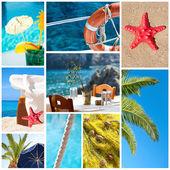 collage di immagini di spiaggia estate - concetto di vacanze