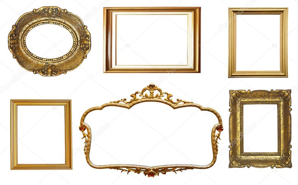 conjunto de marcos dorados vintage aislado sobre fondo blanco — Foto ...